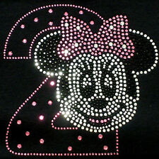 Minnie Mouse 2nd Birthday pink/clear iron on Disney rhinestone transfer