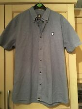 Mens Pretty Green Navy Blue checked shirt L