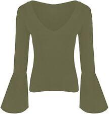 Womens Flare Long Sleeve V Neck Viscose Tops 8-22 Khaki 20-22