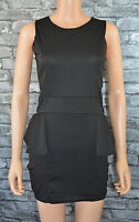 Women's Elegant Black Sleeveless Crew Neck Peplum Evening Mini Dress UK Size 14