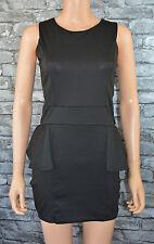 Women's Smart Sleeveless Black Round Neck Peplum Dress Uk Size 14