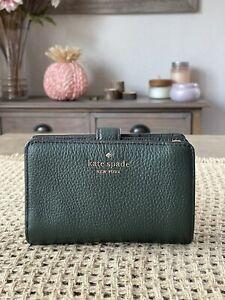 Kate Spade Leila Medium Compact Bifold Wallet Leather Deep Evergreen/Gold