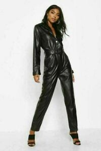 Women Genuine Leather Jumpsuit Sexy Black Real Leather Catsuit/Romper With Belt