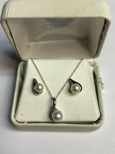 "10K White Gold Women's Pearl & Diamond Necklace & Earrings Set 19"" JC Penny"