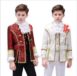 Medieval kids uniform jacket pants full setking ofprince cosplay party costume