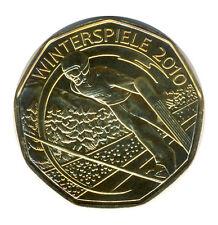 ÖSTERREICH - 5 Euro 2010 - Winterspiele - SKISPRUNG - SILBER - vergoldet