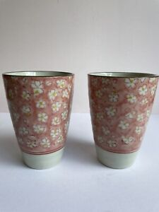 Japanese Green Tea Matcha Mugs Cups X 2 Pink & White Floral FAST POST AUS