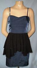 H&M Blue & Black Cocktail Dress Size 8 Double Tiered Bias Cut Apr