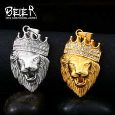 Personalized 316l Stainless Steel Hip Hop Necklace Lion Head With Crown Pendant