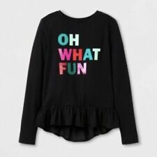 Cat & Jack Holiday Top Girls Size L (10/12) Long Sleeve Sparkle Ruffle Black NWT
