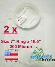 """2x Filter Sock 7"""" Ring x 16 .5"""" 200 Micron Mesh Polyester High Quality Aquarium"""