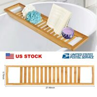 Bathroom Bamboo Bath Table Bathtub Tray Storage Rack Soap Phone Shelf Organizer