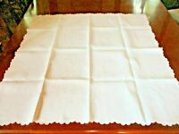 White vintage linen square table scalloped table cloth w/ wt. on wt. embroidery
