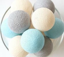 20 LOOSE COTTON BALLS NOT INCLUDE LIGHT STRING, Bedroom, Party - Gray Cream Blue