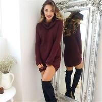 Women Knit Warm Loose Turtle-neck Long Sleeve Casual Sweater Jumper G