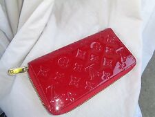 LOUIS VUITTON RED PATENT LEATHER VERNIS ZIP AROUND LARGE WALLET MADE IN FRANCE