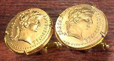 Ancient Roman Emperor Tiberius Gold Plated Rome Coin Cufflinks + Gift Box!
