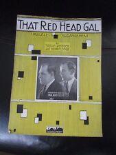 'That Red Head Gal' Sheet Music 1923 Original Vintage