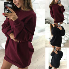 Women Ladies Casual Sweatshirt Long Sleeve Sweater Hoodie Jumper Mini Dress