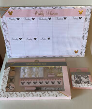NEW DISNEY MICKEY MOUSE STATIONERY SET WEEKLY PLANNER STICKY NOTES BNWT