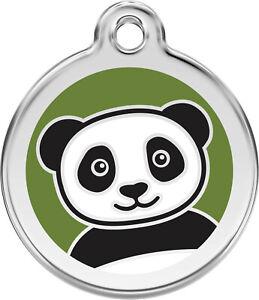 Stainless Steel Red Dingo Panda Bear ID Collar Charm Dog Tag Small Medium Large