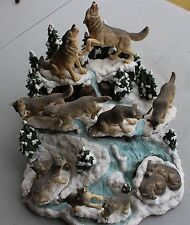 """7 Piece Wolf Figurine Set """"Path of the Wolf""""; The Hamilton Collection"""