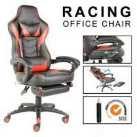 Computer Gaming Chair leather swivel High Back Racing  Recliner Footrest Swivel