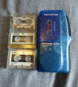 Olympus Pearlcorder S701 Voice Recorder with 4 used Cassette Tapes