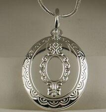 """925 stamped sterling silver Ovale Medaglione Ciondolo con 18 """"collana catena -24"""