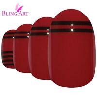 False Nails Red Black Glossy Oval Medium Bling Art Fake 24 Tips 2g Glue