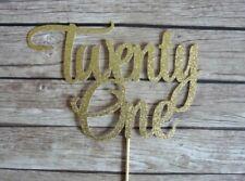 21ST BIRTHDAY TWENTY ONE GLITTER CAKE TOPPERS | HAPPY BIRTHDAY PARTY MILESTONE