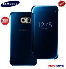 Samsung Galaxy S6 Original CLEAR View Flip Case Cover BLUE
