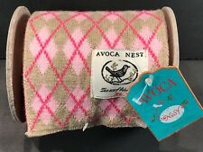 NIP Irish Avoca Nest Knit Winter Scarf On A Spool - Pink & Tan Argyle Diamond