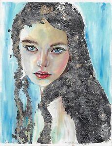 original painting 24 x 31,5 cm 66HO art Mixed Media modern female portrait