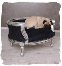 DOG BED CAT BED BAROQUE SOFA BLACK SILVER PET XXS XS S WARM BASKET CUSHION PUPPY