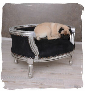 DOG BED CAT BED BAROQUE SOFA BLACK SILVER PET XXS XS S WARM BASKET CUSHION PUPPY