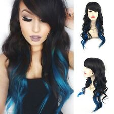 Fashion Women Black To Blue Ombre Full Wig Long Wave Hair Wigs With Bangs