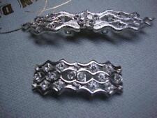 Two Clear Glass Rhinestone Belt Buckles Jewelry Pieces
