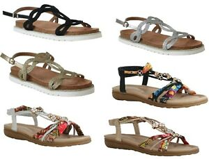 Womens Ladies Slingback Floral Beaded Diamante T Bar Summer Casual sandals Size
