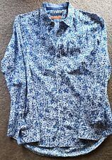 Geoffrey Beene Dress Shirt Botanical Blue on White Large
