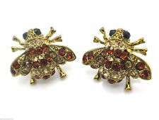 Bumble Bee Earrings Austrian Crystal Pierced Gold Plated Women New 3/4""