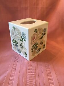 Tissue Box Cover Easter Spring Floral Rose Lily Plastic Square Cube Kleenex Used