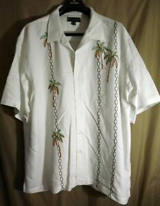 NWOT Weekender 2XL Rayon/Poly Embroidered Palm Trees SS Button Up Camp Shirt