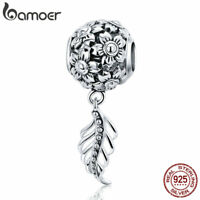 Bamoer European S925 Sterling Silver charm Flower And Leaf For Bracelet Jewelry