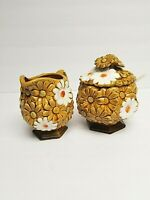 Vintage FRED ROBERTS CO Daisy Gold & White raised ceramic Creamer Sugar bowls