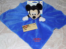 DISNEY SECURITY BLANKET MICKEY MOUSE KIDS PREFERRED BLUE VELOUR RED EMBROIDERY