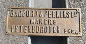 RARE BARFORD & PERKINS LD MAKERS PETERBOROUGH ENGINEERS SOLID BRASS PLAQUE