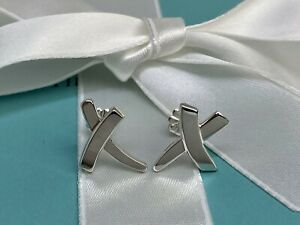 $325 Tiffany & Co. Sterling Silver 925 Paloma Picasso Graffiti  X Kiss Earrings