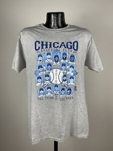 """Men's 2016 Chicago Cubs MLB Baseball """"Team Of The Ages"""" Gray Cotton Shirt NWOT M"""