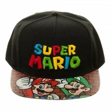 NINTENDO - SUPER MARIO BRO'S SYMBOL BLACK VELCRO CAP WITH PRINTED VISOR (NEW)